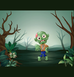 Zombies walking terrorizing in the dead forest vector