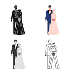 a man and a woman in beautiful outfits the bride vector image vector image