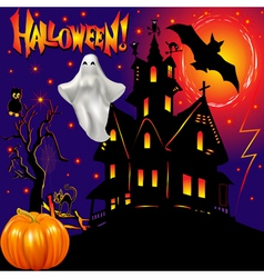 Halloween ghost house vector