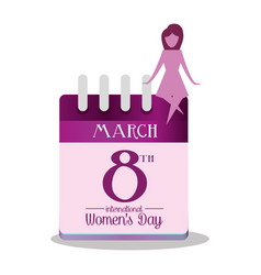 international womens day calendar march girl vector image
