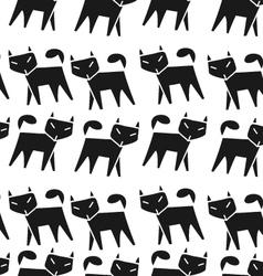 Pattern black cat vector image vector image