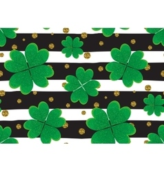 Seamless pattern with green clover leaves gold vector image