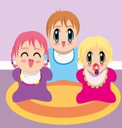 three manga babies vector image vector image