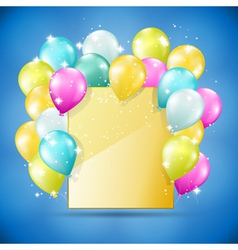 balloons card on blue vector image vector image