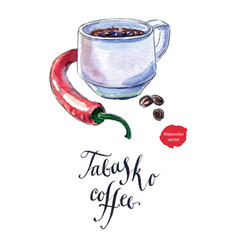 cup of black coffee with pepper tabasco coffee vector image