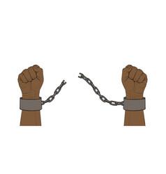 Hands with broken chain vector