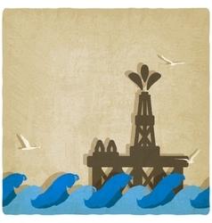 oil platform in blue sea vector image