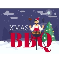 BBQ cooking xmas holiday party vector image