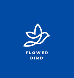 flower bird abstract icon label or logo vector image vector image