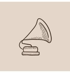 Gramophone sketch icon vector image vector image