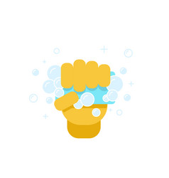 hand with sponge for washing vector image