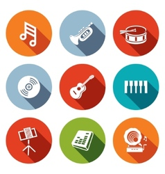 Music flat icons set vector image