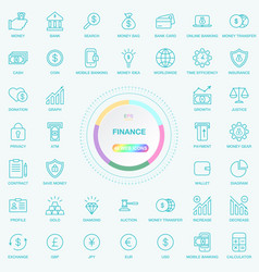universal web and internet finance line icons set vector image