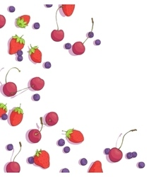 cherries blueberries and strawberries vector image vector image