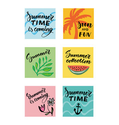 colorful summer typographic cards set vector image