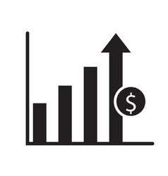 dollar growth icon on white background dollar vector image vector image