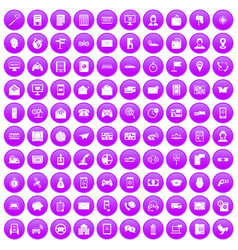 100 telephone icons set purple vector image