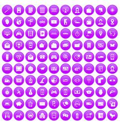 100 telephone icons set purple vector