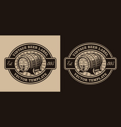 a black and white vintage beer emblem with a beer vector image