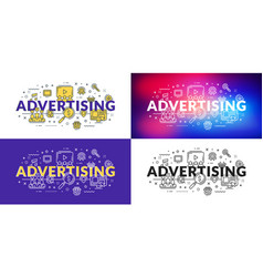 advertising flat line concept for web banner and vector image