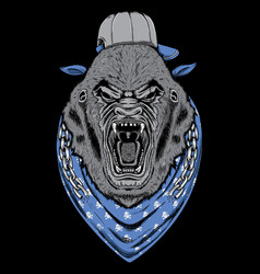Angry gorrila head with chains vector