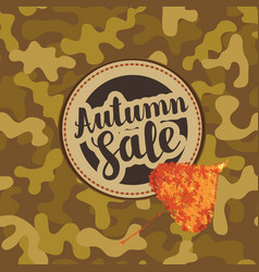 Autumn sale banner with patch on camo background vector