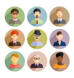 avatars business man flat icons set isolated on vector image