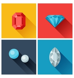 Beautiful jewelry precious stones in flat design vector