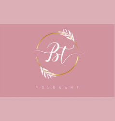 Bt b t letters logo design with golden circle vector