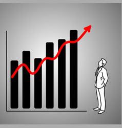 businessman looking at red graph up vector image