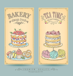 Card collection pastries and tea vector