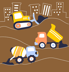 Cartoon construction vehicles vector