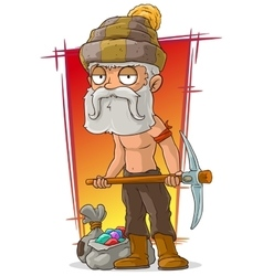 Cartoon old shirtless digger with diamonds vector