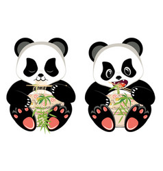 Cartoon panda with ramen vector
