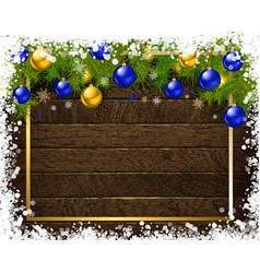 christmas decoration on old wooden board vector image