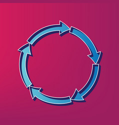 circular arrows sign blue 3d printed icon vector image