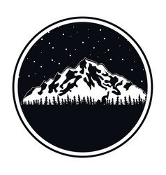 circular frame of black color of night landscape vector image