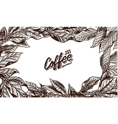 coffee leaves background in vintage style hand vector image