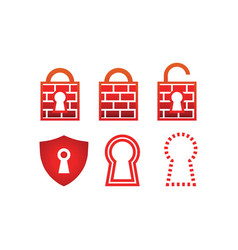 Collection of padlock firewall vector