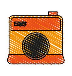 Color crayon stripe cartoon analog camera vector