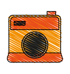 Color crayon stripe cartoon analog camera with vector