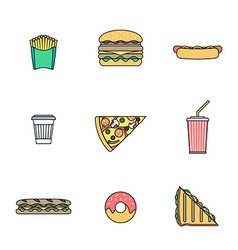 colored outline various fast food icons collection vector image