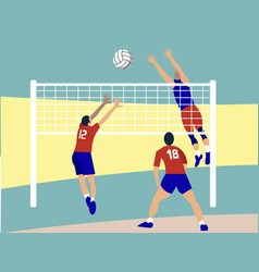 contact sport volleyball in minimalist style vector image