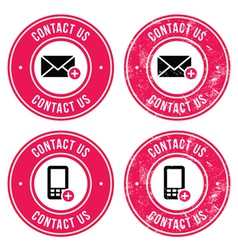 Contact us retro old labels with phone email icon vector