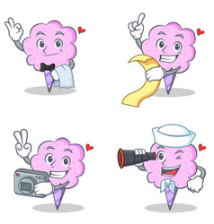 Cotton candy character set with waiter menu photo vector