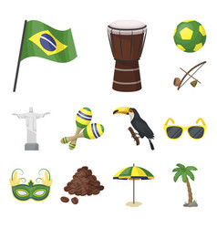 Country brazil cartoon icons in set collection for vector
