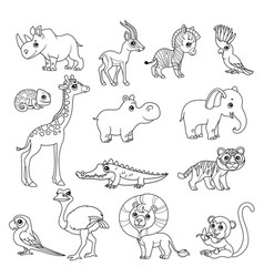 Cute cartoon various african animals set black vector
