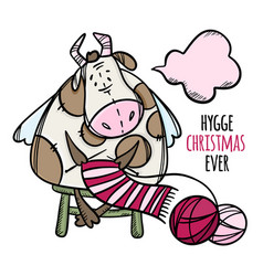 Cute cow knits a christmas scarf set vector