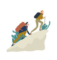 Cute romantic couple climbing up cliff or mountain vector