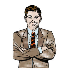 Drawing pop art man business crossed arms vector